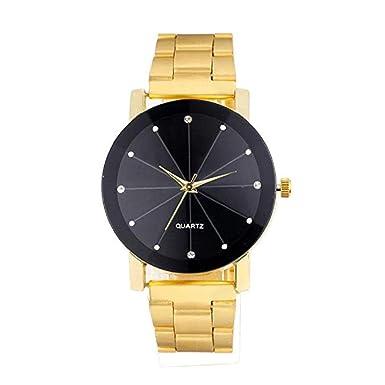 ... Rhinestone Diamond Groove Mirror analógico, Moda Casual, Reloj de Pulsera, Reloj de Acero Inoxidable para Hombres (Oro Rosa): Amazon.es: Relojes