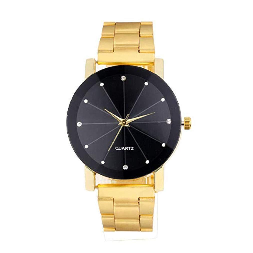 Scpink Reloj de Cuarzo para Hombre, Rhinestone Diamond Groove Mirror analógico, Moda Casual, Reloj de Pulsera, Reloj de Acero Inoxidable para Hombres (Oro ...