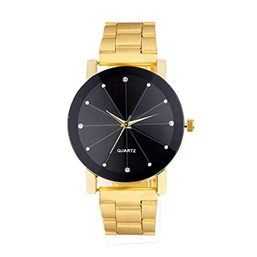 Scpink Reloj de Cuarzo para Hombre, Rhinestone Diamond Groove Mirror analógico, Moda Casual, Reloj de Pulsera, Reloj de Acero Inoxidable para Hombres ...