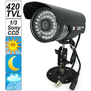 """SecurityIng - Black Housing 420 TVL 1/3"""" Sony CCD Colorful Night Vision Indoor / Outdoor Bullet CCTV Security Camera, 36PCS IR LEDs Support 90 Feet View Distance, IP66 Waterproof Level"""