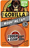 Gorilla Tough and Clear Mounting Tape, Double-Sided, 1'' x 60'', Clear - 24 Pack