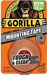 Gorilla 6065001 Mounting Tape Clear, 2 PACK