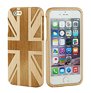 SunSmart Unique Handmade Genuine Natural Wood Wooden Hard bamboo Case Cover for iPhone 6 plus 5.5'' (maple-Union Jack)
