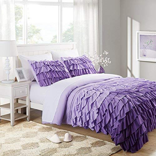 Cassiel Home Gorgeous 3 Pcs Winter Waterfall Bedding Set Flowing Ruffle Comforter Set Gifts for Girl Boy Teen (Queen, Purple)