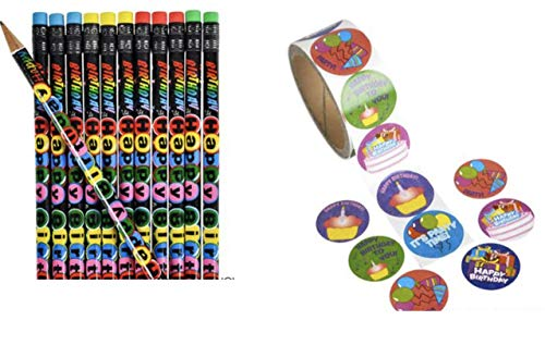 (136- Piece Happy Birthday Pencils AND Birthday Stickers Bundle ~ (36) Pencils AND (100) Stickers ~)