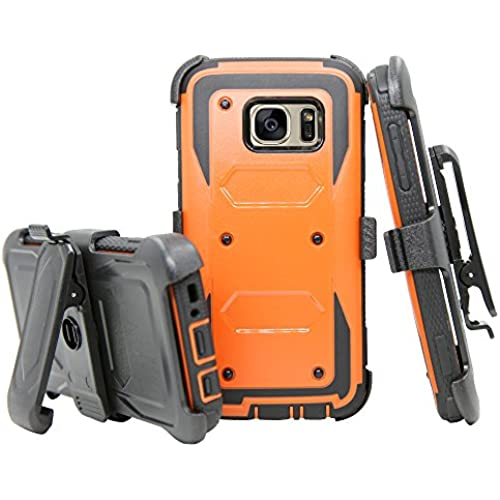 Galaxy S7 Case, Telegaming Rugged Durable Armor Hybrid Heavy Duty Protective Case Shock Absorbing Cover + Belt Sales