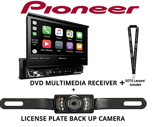 "Pioneer AVH3400NEX Single Din Multimedia Player with 7"" flip Out Screen with License Plate Stye Backup Camera"