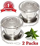 Loose Leaf Tea Infuser Set of 2 with Drip Trays, [One Year Warranty], Food Grade 304 Stainless Steel Strainer & Steeper for a Superior Brewing Experience, Tea Herb Spice Filter for Cup, Mug and Teapot