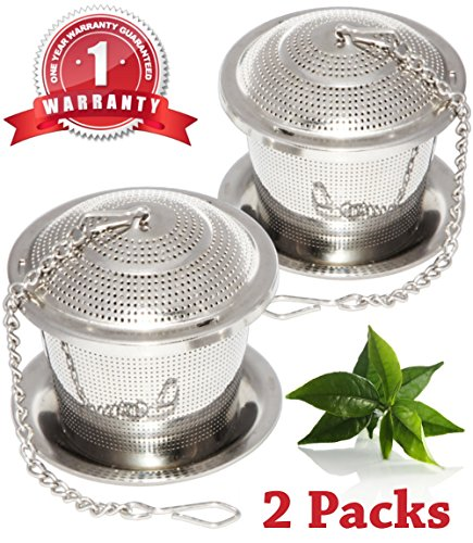 Loose Leaf Tea Infuser Set of 2 with Drip Trays, [One Year (Make Tea Teapot)
