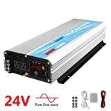 Pure Sine Wave Power Inverter 3000Watt DC 24V to AC120V with Dual AC Outlets with Remote Control 2.4A USB and LED Display