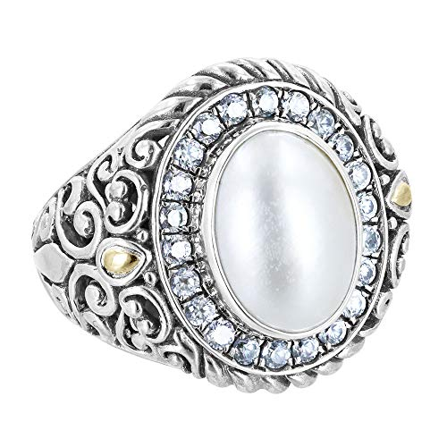 Robert Manse Designs Bali RoManse Sterling Silver and 18K Gold Ring with Mabe Pearl and White - Gold Pearl Ring Mabe