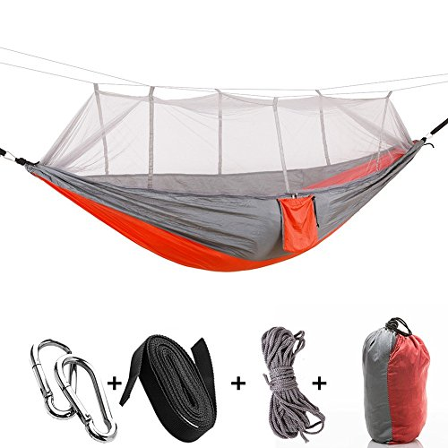 AYAMAYA Camping Hammock with Mosquito Net & Tree Straps for 2/Double Person, Camping Gear Portable Parachute Nylon Lightweight Pop Up Sleeping Hammock with Bug/Insect Netting for Backpacking -Orange - Net Bar Mosquito
