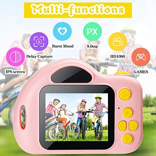 Taoist Kids Camera with 1080P 2 Inch IPS Screen ,HD Digital Video Cameras Toys for Toddler, Camera Camcorder for Children,Best Gifts for 3 4 5 6 7 8 9 10 Years Old Girls Boys with 32GB SD Card(Pink)