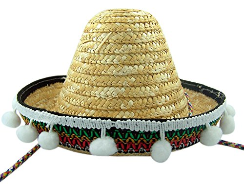 Mexican Sombrero Fiesta Party Hat Comstume Accessory, 7 Inch