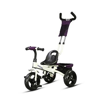 Triciclo para niños de 2-6 años de edad, tamaño bebé, bebé, bicicleta, puede empujar el carro (Color : Blanco) : Amazon.es: Hogar