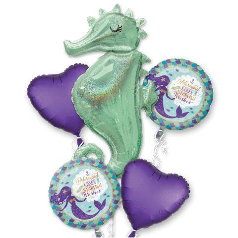 Mermaid Wishes Seahorse Bouquet Of Balloons