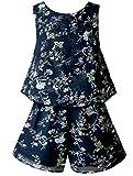 Smukke, Big Girls Vintage Lace Trimmed Denim Sleeveless Romper, 7-16 (Dark Navy, 10)