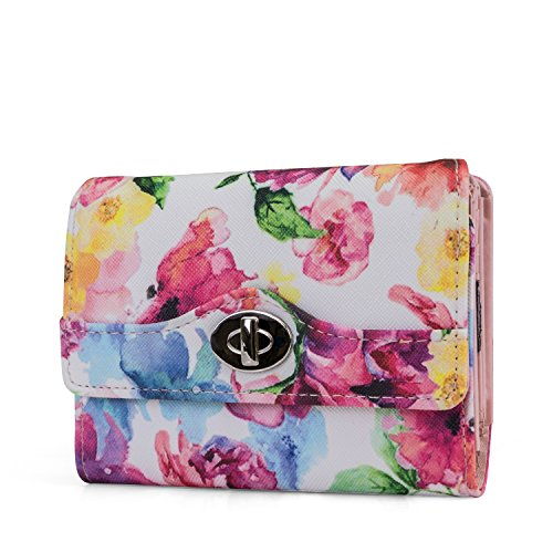 Mundi Small Womens RFID Blocking Wallet Compact Trifold Safe Protection Clutch With Change Purse (Womens Tri Fold)