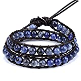 Blue Solidate Wrap Bracelet Handmade Woven Brown Leather Multilayer 6mm Beads Bangle Fashion Style (Blue Solidate)