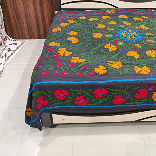 Worldoftextile Suzani Hand Embroidered Quilt Queen Bedding Blanket Bohemian Throw Handmade Black Multicolor (Suzani Quilt)
