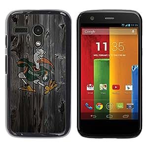 Design for Girls Plastic Cover Case FOR Motorola Moto G 1 1ST Gen Miami Hurricane Football OBBA