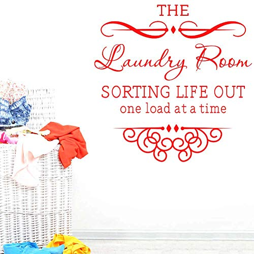 BIBITIME The Laundry Room Sorting Life Out One Load at a Time Vinyl Wall Decal Quote Sticker Home Decor Art Mural for Bathroom (Red, DIY 17.72