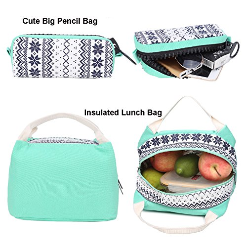 School Backpacks for Teen Girls Lightweight Canvas Backpack Bookbags Set (Light Green) by CAMTOP (Image #2)