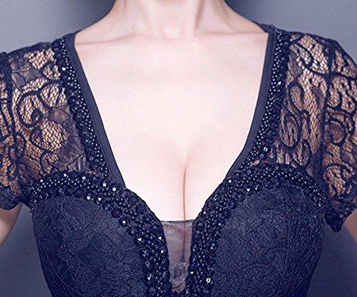 Spitze Schwarz Bodycon Open Emily Kleid V Partei durch Side Ausschnitt sehen Beauty WqwPtIYY