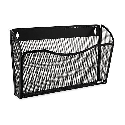 Rolodex Mesh Collection Single-Pocket Wall File, Black (Black Metal Hanging)