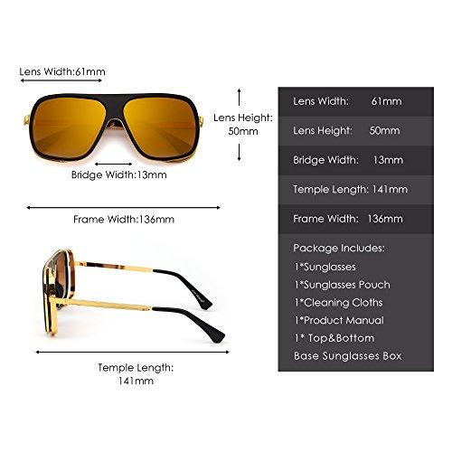 de Metal Espejo Lentes Mujer Sombras Sol Top Espejo de Cuadrado Diseñador Claros Plano Gafas Dorado Hombre Dorado 0xvIqOwax