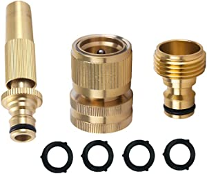 HQMPC Garden Hose Quick Connect Solid Brass Quick Connector Garden Hose Fitting Water Hose Connectors 3/4 inch GHT (1SET+1 Spray Nozzle)+ 4 Extra Pressure Washers