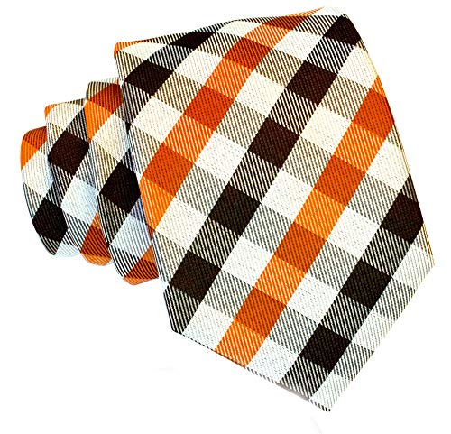 (Gingham Plaid Ties for Men - Woven Necktie - Orange and)