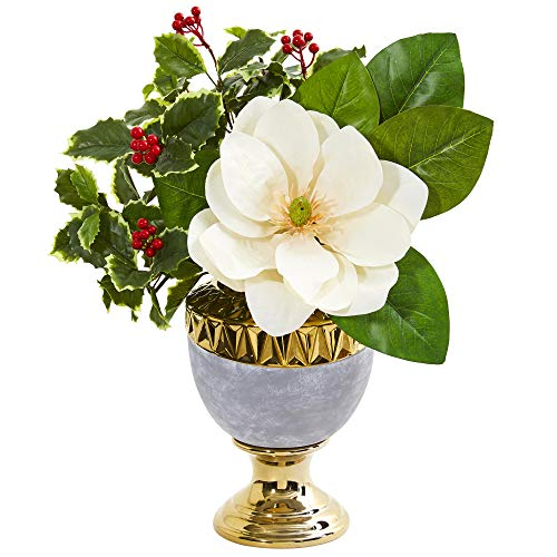 Nearly Natural 1984 Magnolia and Holly Leaf Artificial Stoneware Urn Silk Arrangements Cream