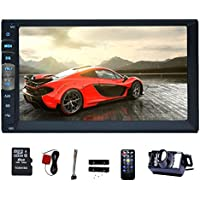 EinCar 7 Touch Screen Double Din Car Stereo MP5 Player In Dash GPS Navigation AM FM Radio MP3 Audio 1080P Video Player Support Bluetooth/USB/TF/AV-IN/RCA output/EQ/Rear View Camera+Remote Control