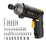 Electric Cordless Screwdriver Rechargeable, Torque 6Nm, 4V Max 2.0Ah Li-ion, 9+1 Torque Gears, 44 Bits, Adjustable 2 Position Handle with LED Torch, USB Charging.
