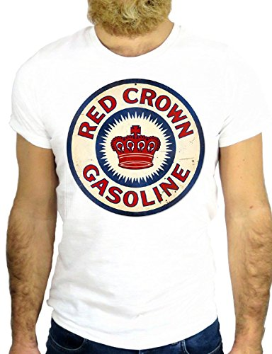 T SHIRT JODE Z1295 CROW GASOLINE LOGO VINTAGE RED NICE COOL AMERICA NEW YORK GGG24 BIANCA - WHITE S