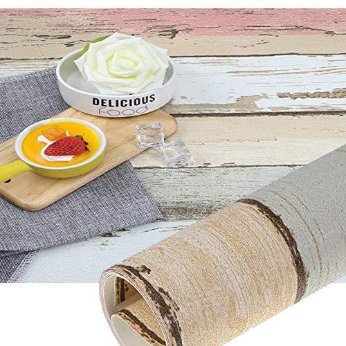 Mekingstudio 20x20 Inch (50x50cm) Photo Video Studio PVC-Coated Retro Mediterranean Wood Texture Background Paper for Photo Props