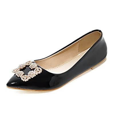 SJJH Pointed Toe Flat Shoes With Over Size 11.5 UK All Match Flats (Black 1