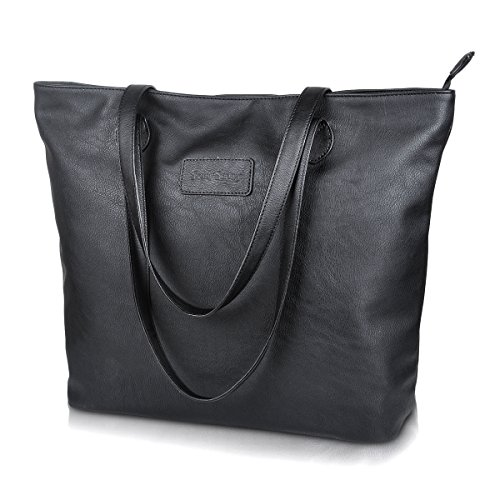 Tote Handbags,PU Leather Tote Bags Large Shoulder Bag for Women Sunny Snowy (8014-black)