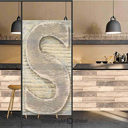 3D Decorative Privacy Window Films,Wood Alphabet Block S Timber Texture Image Typography Writing Craft Font,No-Glue Self Static Cling Glass Film for Home Bedroom Bathroom Kitchen Office 24x71 Inch