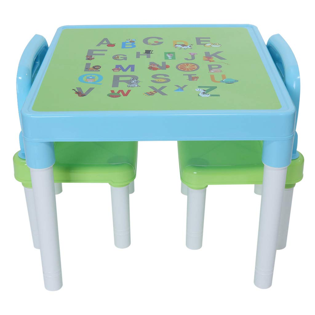 Children's Study Table Set, Plastic Kids Table and 2 Chairs Set for Boys or Girls Toddler (Light Blue) by Lcyus
