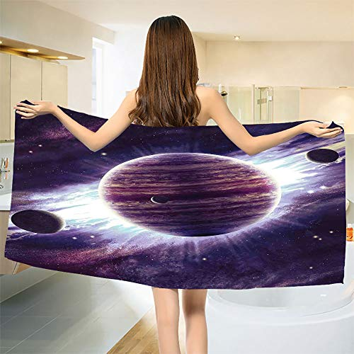 smallbeefly Galaxy Bath Towel Outer Space Theme Planets Saturn Mars Neptune Science Fiction Solar Scene Artprint Customized Bath Towels Mauve Purple Size: W 19.5'' x L 39.21'' by smallbeefly