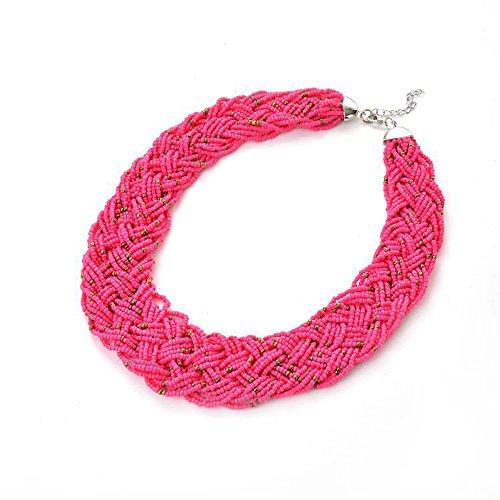 Karen accessories Fashion Multilayer Seed Beads Strand Braided Statement Bib Choker Necklace (Rose ()