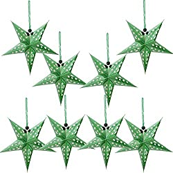Paper Star Lantern Lampshade Hanging Christmas Xmas Day Decoration For LED Light Wedding Birthday Party Home Decor 8 Pcs 28cm Hollow Out Design (Lights not included) (Green)