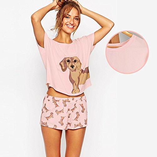 19a1b1a6d Amazon.com: MH-RITA Loose Pajama Sets Women Cute Dachshund Print 2 ...