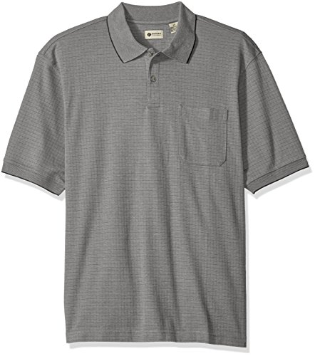Haggar Men's Big and Tall Short Sleeve Minibox Knit Polo, Off-White, 2X (Pocket Polo)