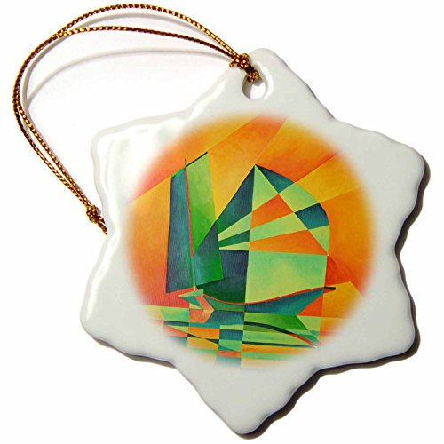 Taiche - Acrylic Painting - Sail Boat - Sails at Sunrise - sailing enthusiast, fishing, fishing boat, chinese junk,yellow, orange, red,green - 3 inch Snowflake Porcelain Ornament (orn_63135_1)