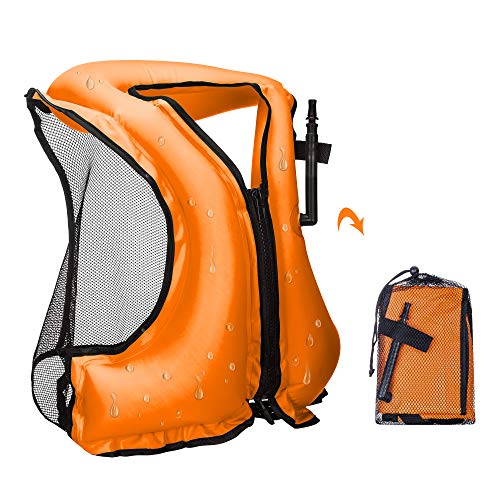 - YAPASPT Inflatable Life Jacket Adult Swimming Vest for Snorkeling Suitable for 80-220 lbs