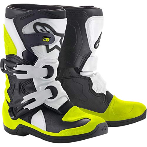 - Alpinestars Youth Tech 3S Kids Boots-Black/White/Yellow Flo-K13