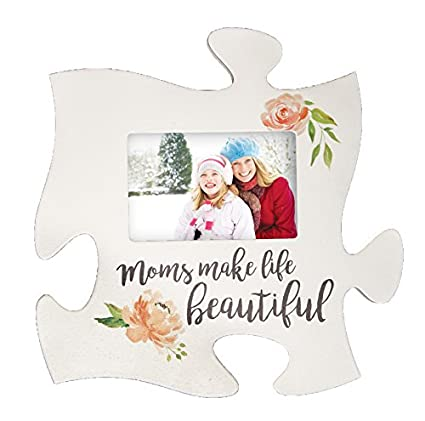 Amazon.com - Moms Make Life Beautiful Floral White 12 x 12 Wood ...